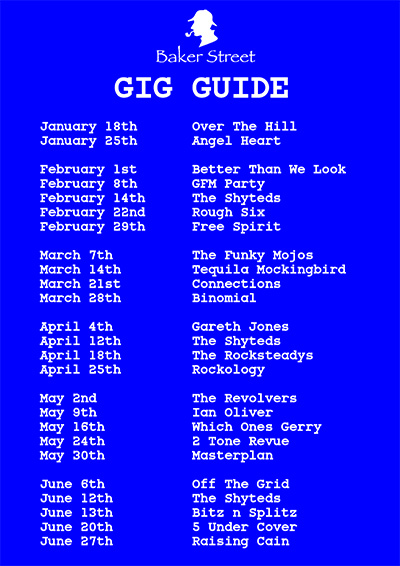 bakers street Gig Guide 2020