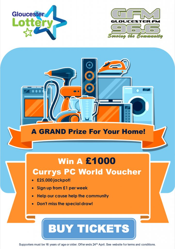 gloucester lottery win £1000 currys pc world voucher GFM 2021